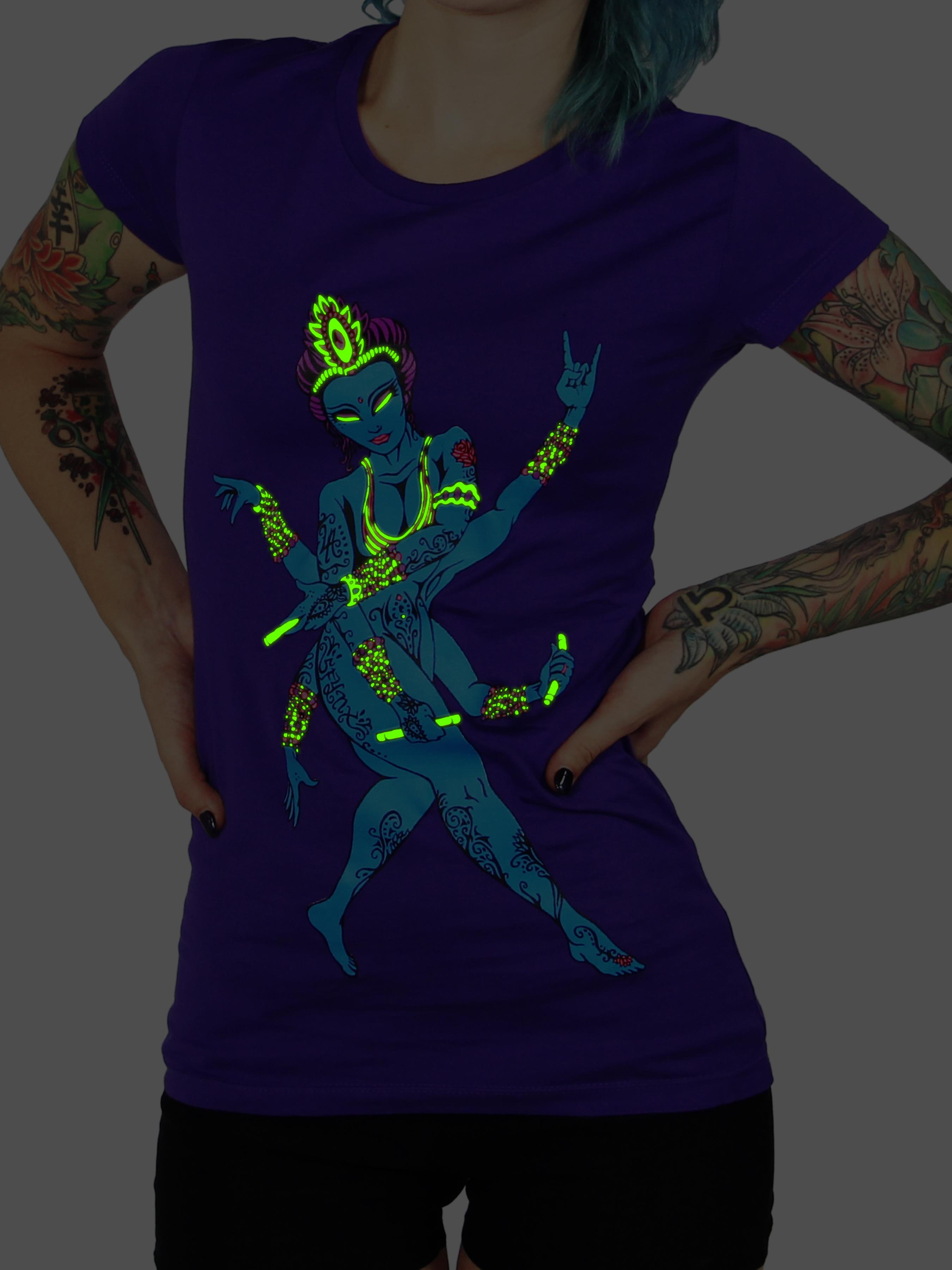 Women Blue Lady Purple Glow