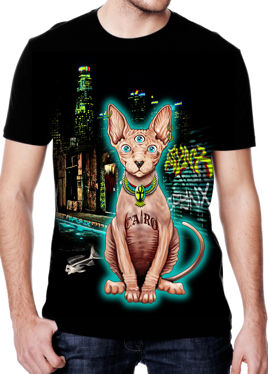 Men 39 s 9th life t shirt sfynx for T shirt printing downtown los angeles